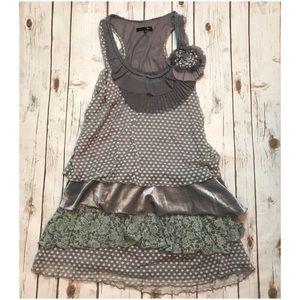 ModCloth Ryu Grey Polka Dot Tiered Dress